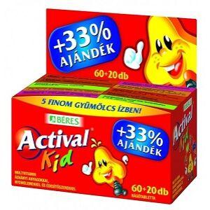 BÉRES ACTIVAL KID RÁGÓTABLETTA 60+20DB
